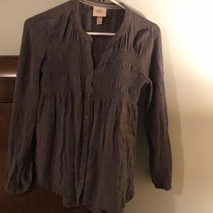 KNOX ROSE Boho Gray Gauzy Blouse w/ Silver Buttons